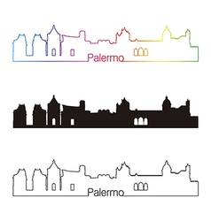 Palermo skyline linear style with rainbow vector image