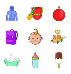 Parenthood icons set cartoon style vector