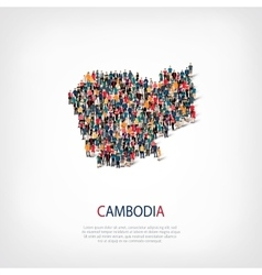 people map country Cambodia vector image