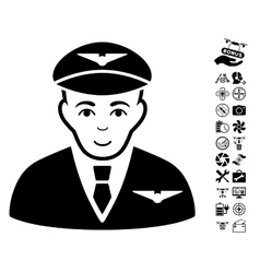 Pilot Icon With Copter Tools Bonus vector
