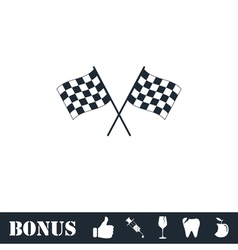 Racing flag icon flat vector