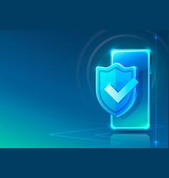 screen phone neon icon padlock modern blue vector image