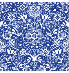 Seamless folk art pattern with birds vector
