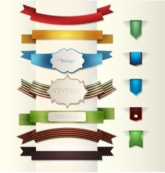 Set of retro ribbon vector image
