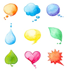 Set of watercolor design elements vector image