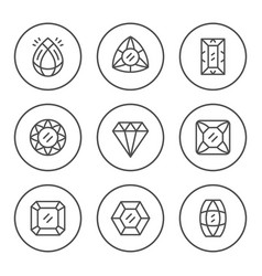 set round line icons of gem vector image