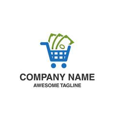 shopping money logo financial shop icon logo vector image