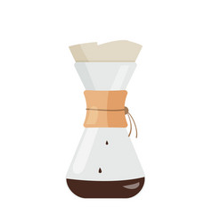 Simple coffee kemex way to make coffee glass vector