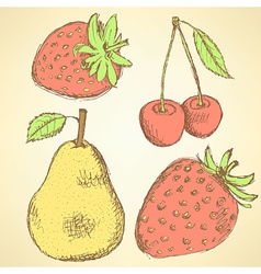 Sketch pear strawberry and cherry in vintage style vector image
