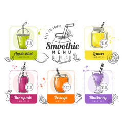 smoothie menu summer cocktails lists for vector image