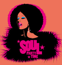 soul party time soul funk jazz or disco music vector image