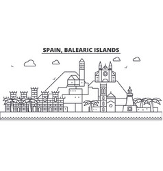 Spain balearis islands architecture line skyline vector