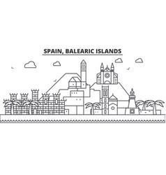 Spain balearis islands architecture line skyline vector