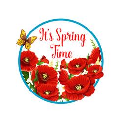 Springtime icon of poppy flowers bloom vector