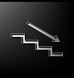 Stair down with arrow gray 3d printed vector