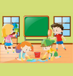 Students cleaning classroom together vector