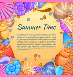 summer travel card with cartoon sea shell vector image