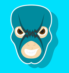 Super hero in mask icon in sticker style vector