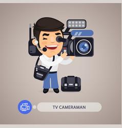 Television cameraman flat cartoon character vector