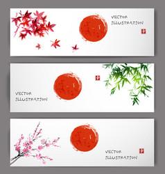 three banners with sun maple bamboo and sakura vector image