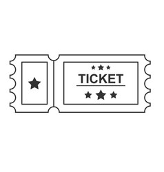 ticket black line icon on white background vector image