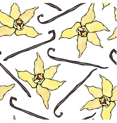 Vanilla stick and flower seamless endless pattern vector