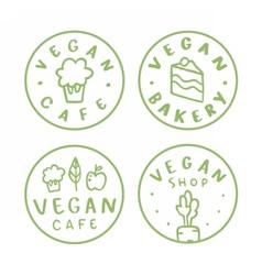 Vegan round badges vector