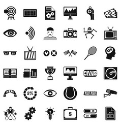 Video format icons set simple style vector