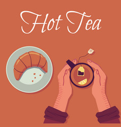 view from above on human hands with cup tea vector image