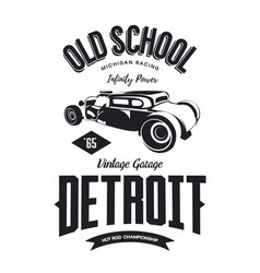 Vintage hot rod vehicle logo vector