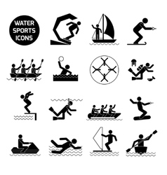 Water Sports Icons Black vector