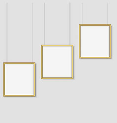 white background with mock up empty gold frames vector image