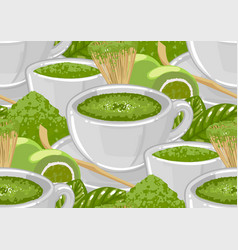 White round cups matcha tea surrounded green vector