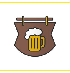 Wooden bar sign color icon vector