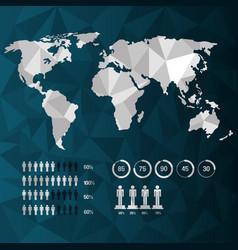 World map infographic demographic statistics vector