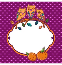 Halloween greeting card with owls vector image