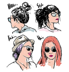 Hand drawn fashion girls hipster vector image vector image