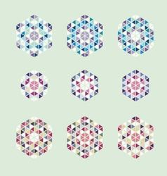 Ornamental mosaic logo template set symbols icons vector