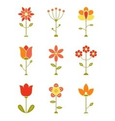 Retro Flower Set vector image