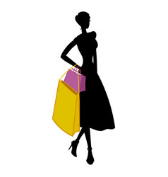 silhouette of woman with different colored vector image vector image