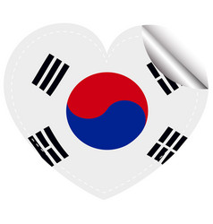 sticker design for flag of south korea vector image vector image