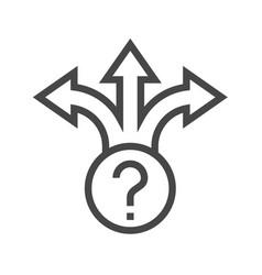 three-way direction arrow thin line icon vector image