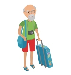 elderly man traveling isolated on vector image