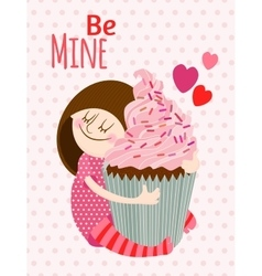 Girl with cupcake vector image