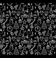new year christmas objects black and white vector image vector image