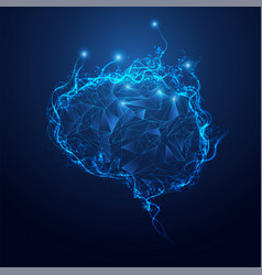 polygon brain vector image vector image