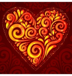 Red shining heart on ornate background vector image