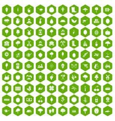 100 agriculture icons hexagon green vector