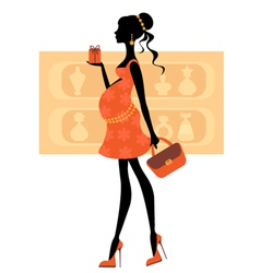 chic pregnant woman vector image vector image