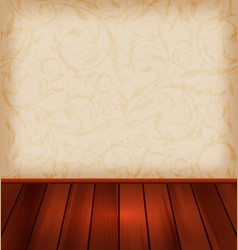 floral wallpaper and wooden floor - vector image